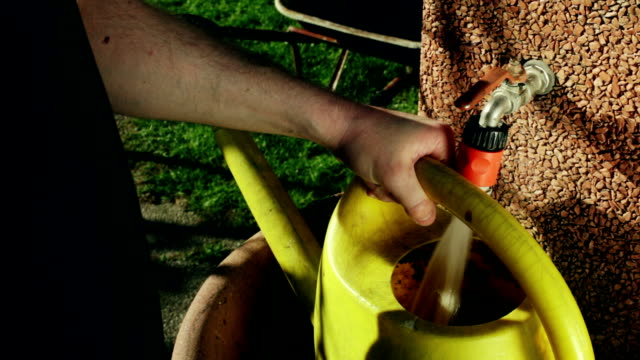 hd: gardening - gardener with watering can - watering can stock videos and b-roll footage