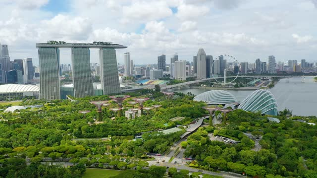 gardens by the bay, flying towards skyline singapore. marina bay in singapore. - singapore stock videos & royalty-free footage