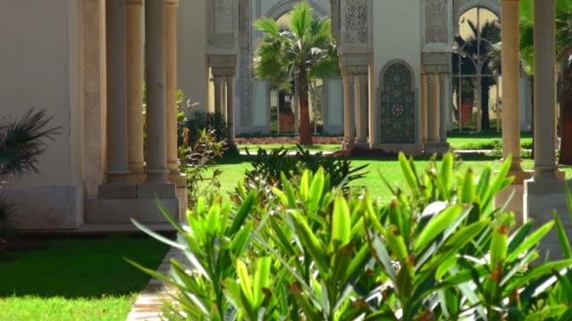 gardens of hassan ii mosque, casablanca, morocco - formal garden stock videos & royalty-free footage