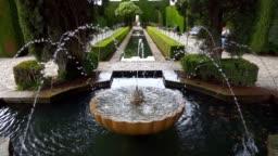 Gardens of the Generalife in Alhambra.  Granada, Spain