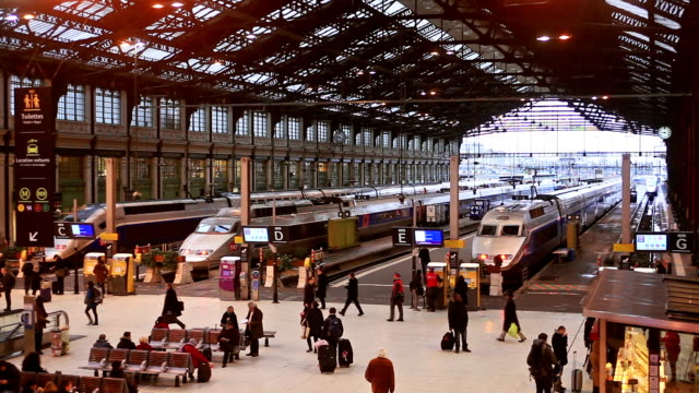 stockvideo's en b-roll-footage met gare de lyon railway station in paris. - station