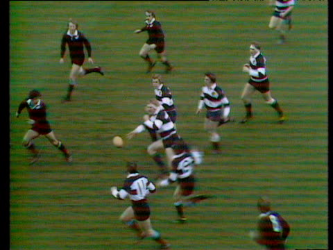 gareth edwards scoring brilliant try for the barbarians vs new zealand all blacks in 1973 - wales stock videos & royalty-free footage