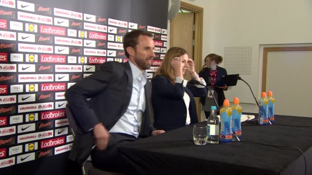 Gareth Southgate gives first perss conference as Interim England Manager ENGLAND Staffordshire St George's Park INT Gareth Southgate taking seat at...