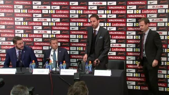 gareth southgate holds his first press conference as england manager; england: london: wembley stadium: int **beware flash photography** gareth... - boys beware点の映像素材/bロール