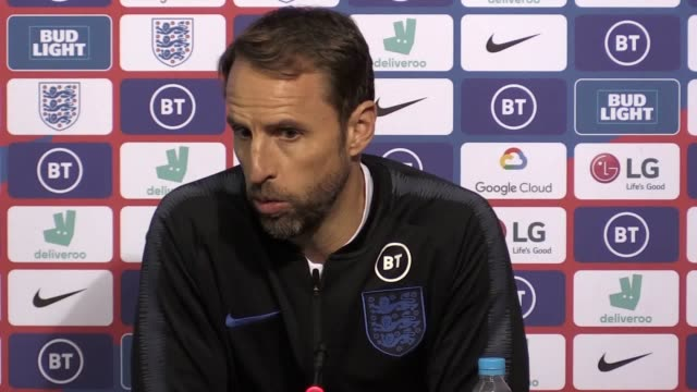 gareth southgate is confident england will bounce back from their surprise 21 defeat against the czech republic and get their euro 2020 qualification... - toned image stock videos & royalty-free footage