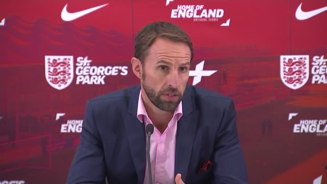 Gareth Southgate press conference announcing England squad ahead of UEFA Nations League match ENGLAND Staffordshire St George's Park INT Gareth...