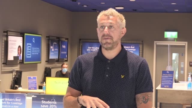 vídeos y material grabado en eventos de stock de gareth turpin, sales and service director for o2, talks about the plans to reopen their high street stores as of mid june, plus shots of the safety... - sumar