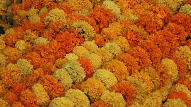 stockvideo's en b-roll-footage met garland of flowers on sale at the ganges, india - guirlande