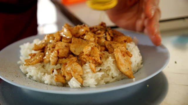 garlic chicken rice , thai style food. - sour taste stock videos & royalty-free footage