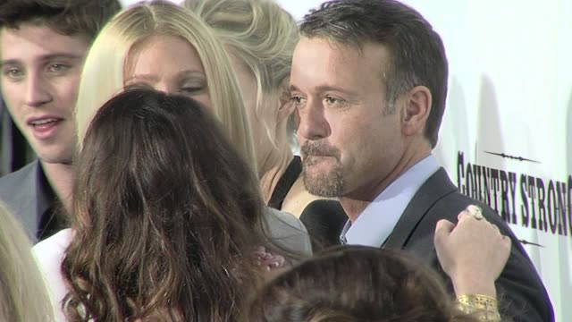 garrett hedlund, shana feste, gwyneth paltrow, tim mcgraw, leighton meester at the 'country strong' premiere at beverly hills ca. - tim mcgraw stock videos & royalty-free footage