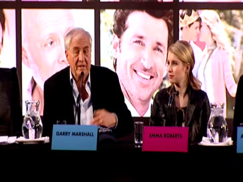 garry marshall talks about casting for the film, about matching love on the set, ashton kutcher quickly points out he is married. taylor swift and... - ashton kutcher stock videos & royalty-free footage
