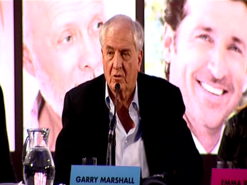 garry marshall talks about topher grace wanting the best love story. at the valentine's day press conference at london england. - topher grace stock videos & royalty-free footage