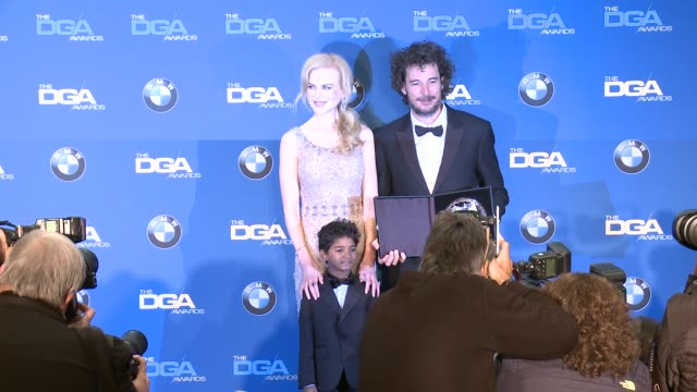 garth davis sunny pawar nicole kidman at 69th annual directors guild of america awards in los angeles ca - directors guild of america awards stock videos & royalty-free footage