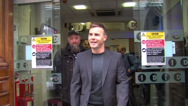 gary barlow leaves after appearing as a guest. gary barlow at bbc radio one studios on march 17, 2011 in london, england - bbc radio stock videos & royalty-free footage