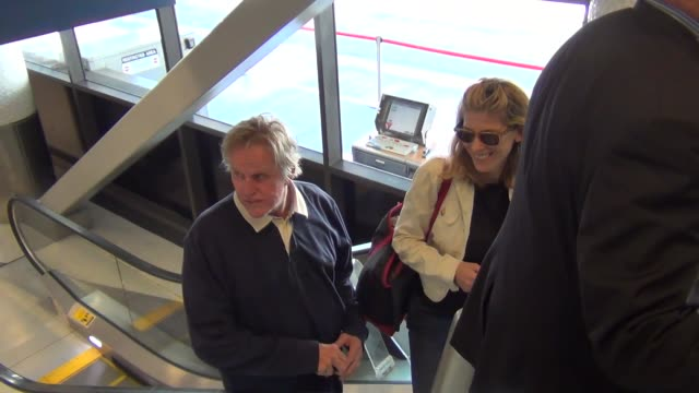 gary busey at lax airport on october 08, 2015 in los angeles, california. - ゲーリー ビジー点の映像素材/bロール