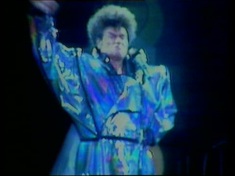 gary glitter deported from cambodia; lib - no resale england: int sequence gary glitter performing - gary glitter stock videos & royalty-free footage