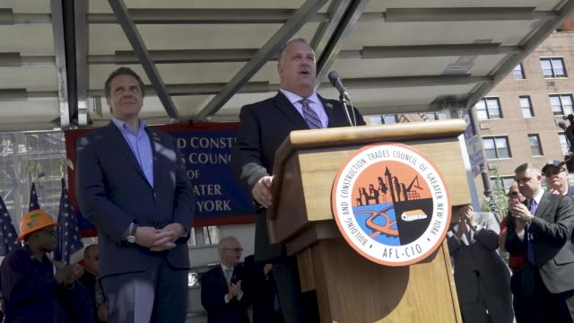 Gary LaBarbera introduces guest speaker the Governor of New York Andrew Cuomo Members of the Laborers' NYC Locals joined with other NYC Building...