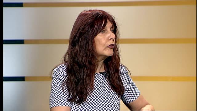 McKinnon refuses medical examinations ENGLAND London GIR INT Janice Sharp LIVE STUDIO interview SOT