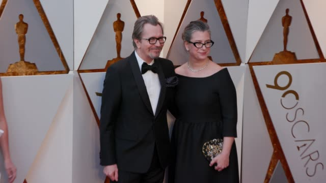 Gary Oldman and Gisele Schmidt at 90th Academy Awards Arrivals 4K Footage at Dolby Theatre on March 04 2018 in Hollywood California