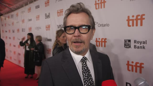 """gary oldman on his biggest challenge of playing winston churchill and why his leadership is needed right now at the """"darkest hour"""" premiere presented... - gary oldman stock videos & royalty-free footage"""