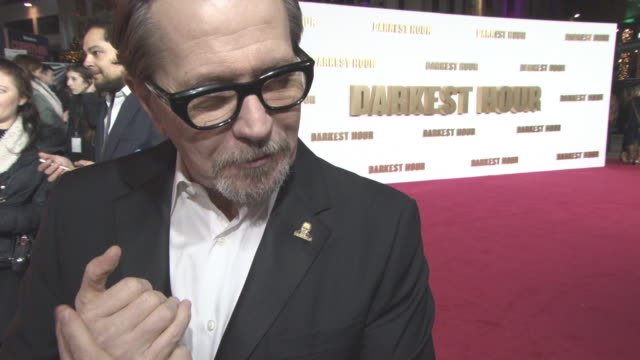 INTERVIEW Gary Oldman on his Golden Globe nomination becoming Winston Churchill at 'Darkest Hour' UK Premiere at Odeon Leicester Square on December...