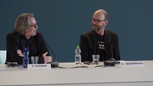 gary oldman on the script, changes to the script, working with steven soderbergh at the laundromat - press conference - 76th venice film festival on... - gary oldman stock videos & royalty-free footage