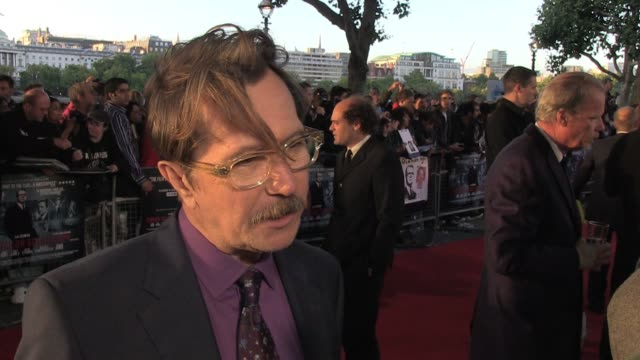 gary oldman talks about the movie and his memories of the original television series and what people can expect from the movie at the uk premiere of... - gary oldman stock videos & royalty-free footage