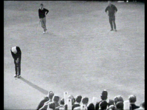 gary player holes putt on 16th green to leave peter thompson putting to save match world matchplay championship final wentworth 1965 - pga world golf championship stock videos & royalty-free footage