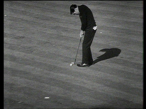 gary player holes putt to beat peter thompson convincingly 8 and 7 world matchplay championship semi final wentworth 1968 - pga world golf championship stock videos & royalty-free footage