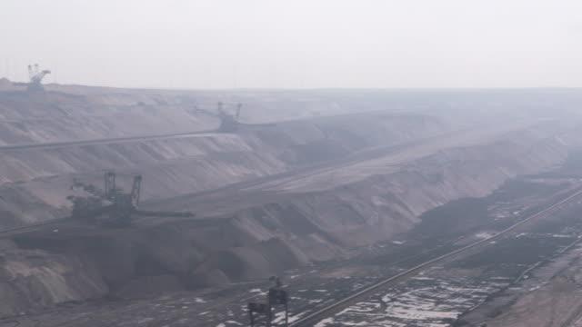 garzweiler brown coal surface mine, panning. north-rhine westphalia, germany.get - north rhine westphalia stock videos & royalty-free footage