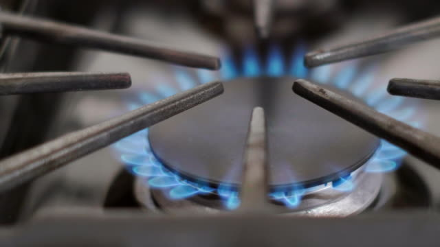 Gas Burner on a Household Stove