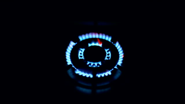 Gas Burner,Stove Top, Fire, Blue, Defocused
