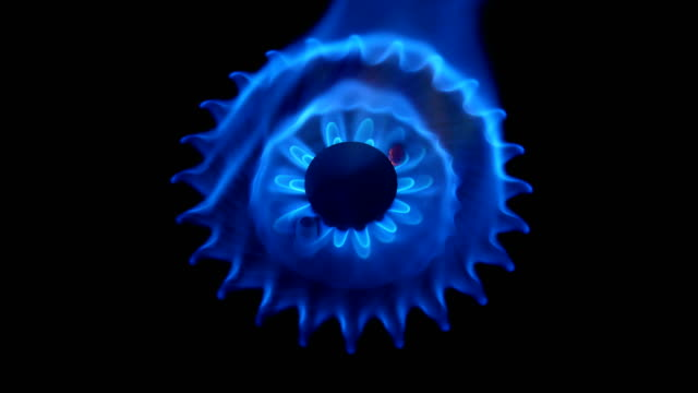 Gas burning on the stove