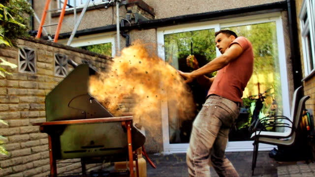 gas explosion. barbecue season fire safety danger warning - careless stock videos & royalty-free footage