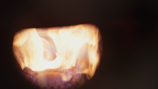 slo mo cu gas fire under vat burns brightly - energy efficient stock videos & royalty-free footage