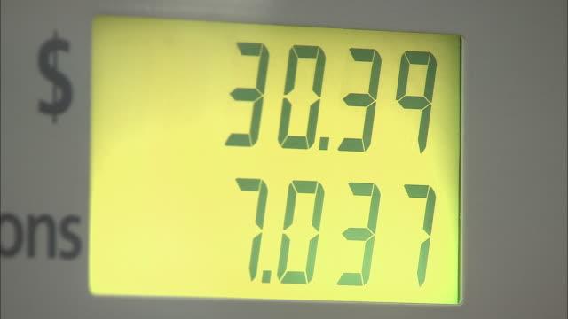 cu, gas price total rising on fuel pump digital display, new york city, new york, usa - fuel pump stock videos & royalty-free footage