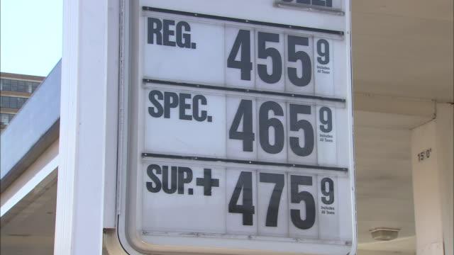 cu, gas prices sign on manhattan gas station, new york city, new york, usa - price tag stock videos & royalty-free footage