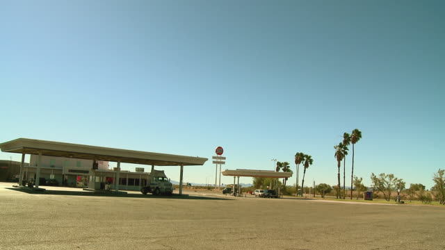 ws, gas station in desert landscape, blythe, california, usa - fuel pump stock videos and b-roll footage