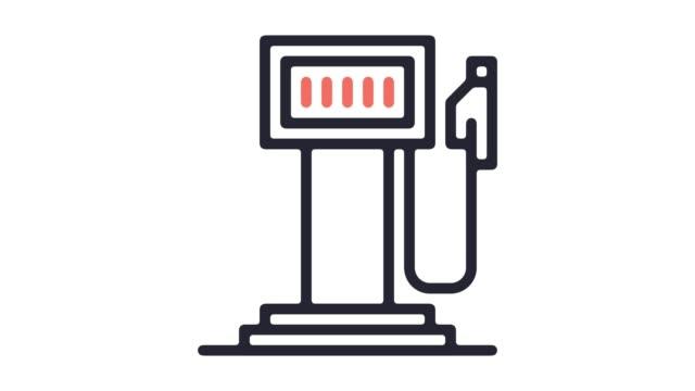 vídeos y material grabado en eventos de stock de estación de gas línea icono animación con alfa - bomba de combustible