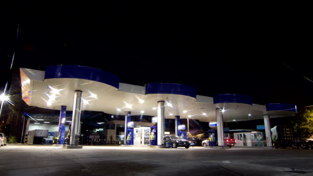 gas station service night scene time lapse