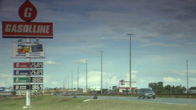 WS, Gas station sign on roadside, Brasilia, Brazil