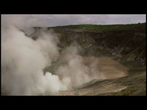 ha gas steam rising from crater  shikotsu volcano  japan - レターボックス点の映像素材/bロール