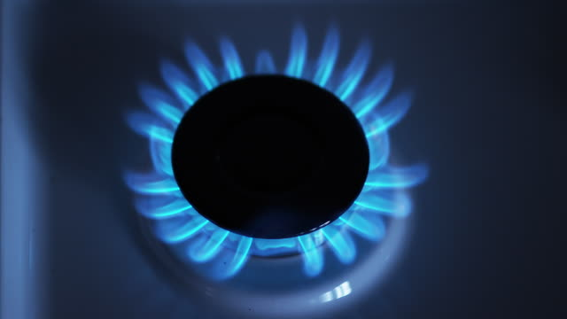 gas stove burner, blue flame, real time 4k - gas stove burner stock videos and b-roll footage