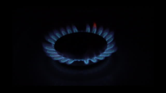 slo mo gas stove burner ring igniting - gas stove burner stock videos and b-roll footage