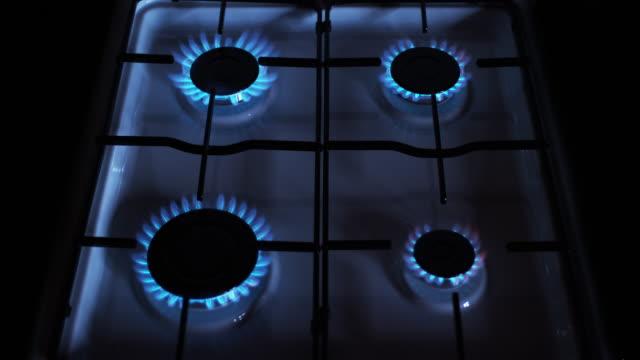 Gas Stove Burners, Blue Flame, Real Time 4K