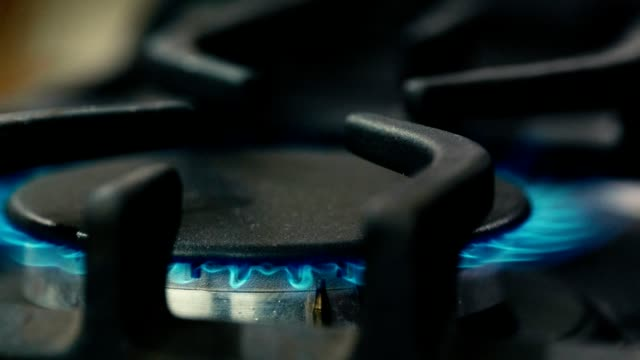 gas stove with blue flame - cooker stock videos and b-roll footage