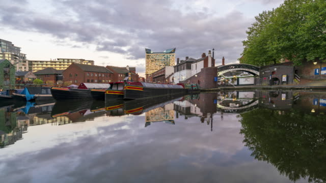 gas street basin and boats in birmingham, tilt-up time-lapse - birmingham england stock videos & royalty-free footage