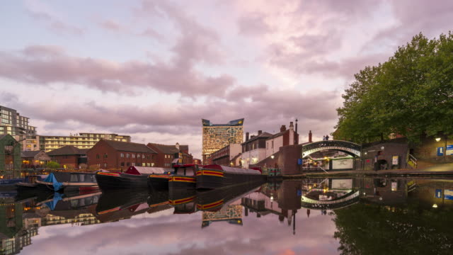 gas street basin in birmingham, uk time-lapse at dusk - birmingham england stock videos & royalty-free footage