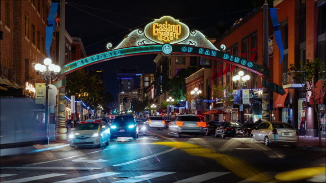 gaslamp quarter, downtown san diego, motion time lapse - san diego stock videos & royalty-free footage
