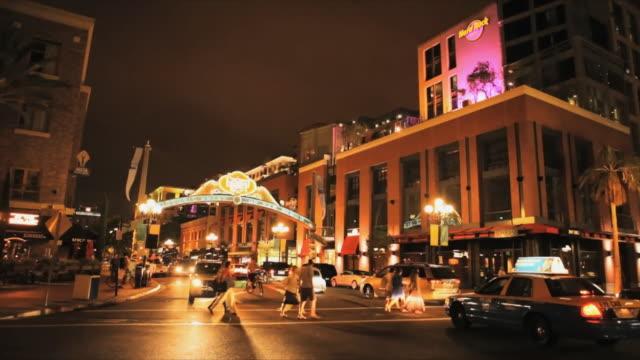 ws gaslamp quarter street traffic, san diego, california, usa - san diego stock videos & royalty-free footage